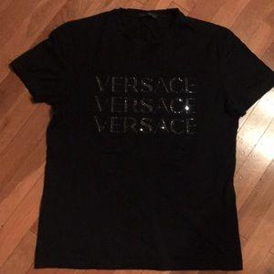 Authentic Versace Black T-Shirt Rhinestones Size S
